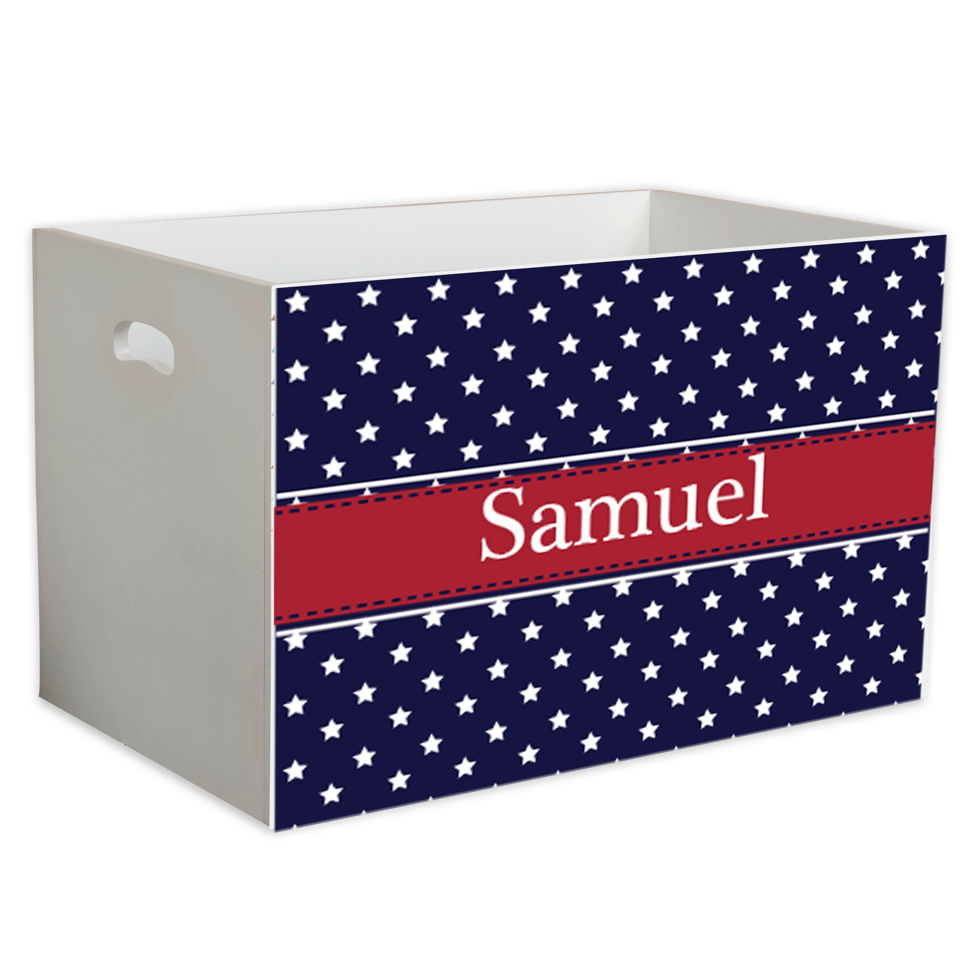 Personalized Star Spangle Childrens Nursery White Open Toy Box