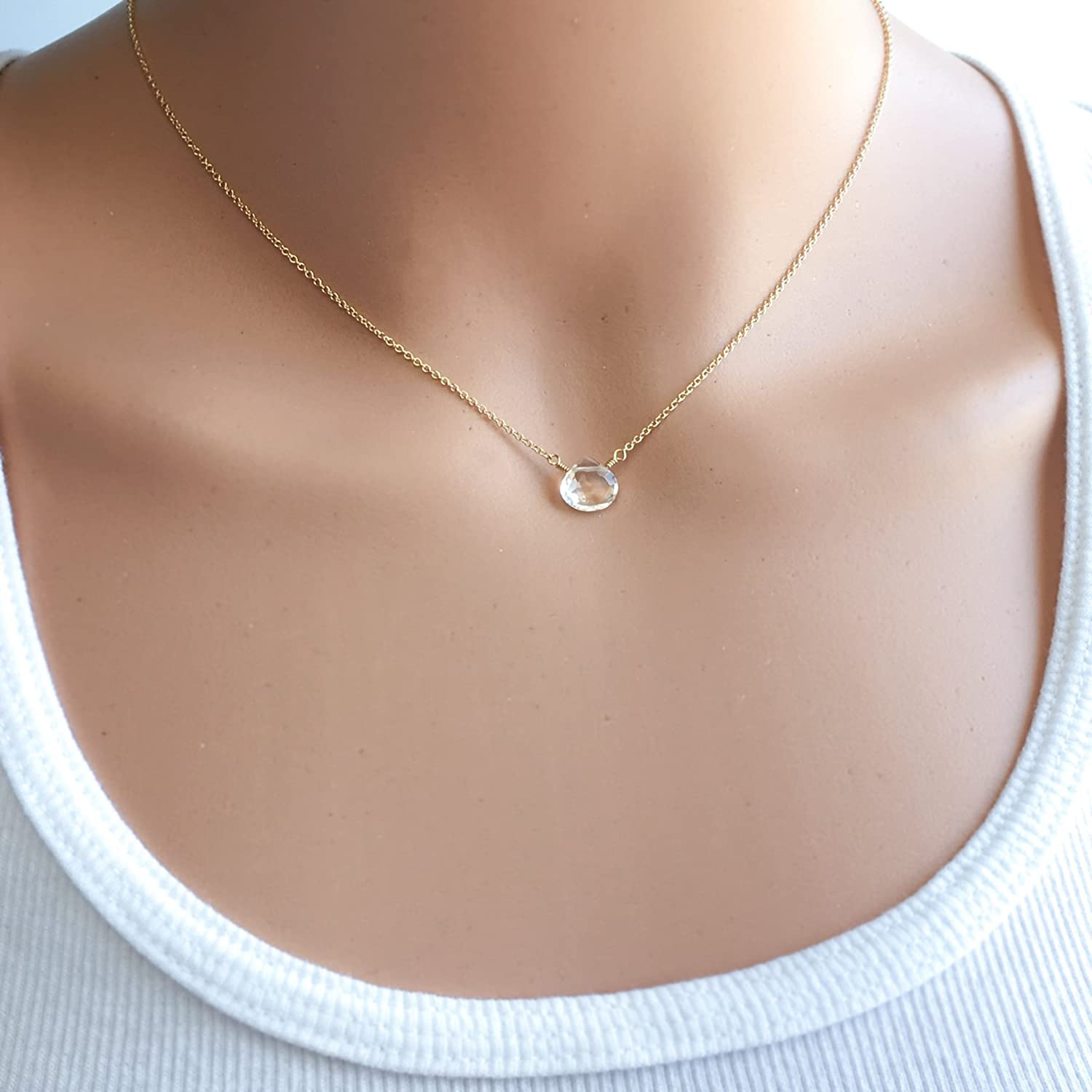 Small Crystal Quartz Choker Necklace 14-20 inches Available in Silver Rose Gold and Gold