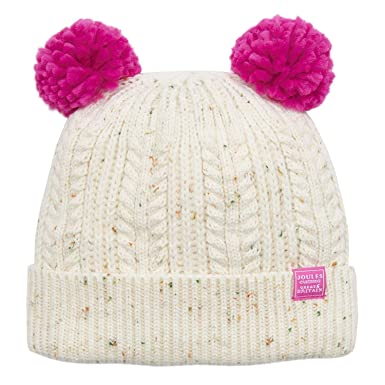 679330d440944 Joules Ailsa Double Pom Pom Girls Hat: Amazon.co.uk: Clothing