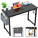 Foxemart Computer Desk Modern Sturdy Writing Study Desk Simple PC Laptop Notebook Table with Storage Bag and Iron Hook for Ho