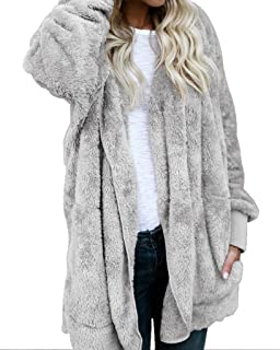 9bb8f80291 Womens Fuzzy Winter Open Front Cardigan Sherpa Fleece Jacket Hooded Coat  Outerwear