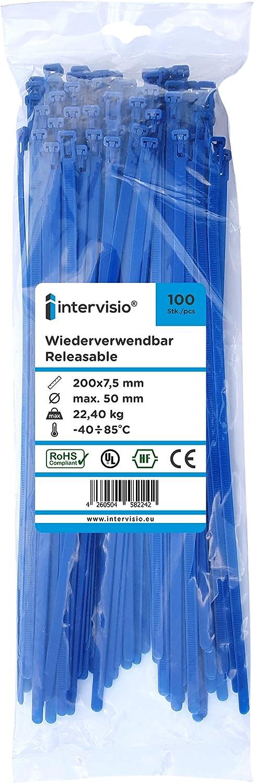 Serre C/âbles Rilsan Nylon 200 mm x 7,6 mm Bleu Lot de 100 Pi/èces intervisio Collier de Serrage R/éutilisable Plastique Colliers Serre-Cable 200mm Attache C/âble R/éutilisables
