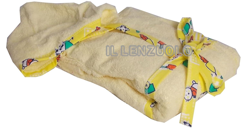 PERRY accappatoio bimbo unisex con cappuccio e tasche giallo anni 4/5 Almatex