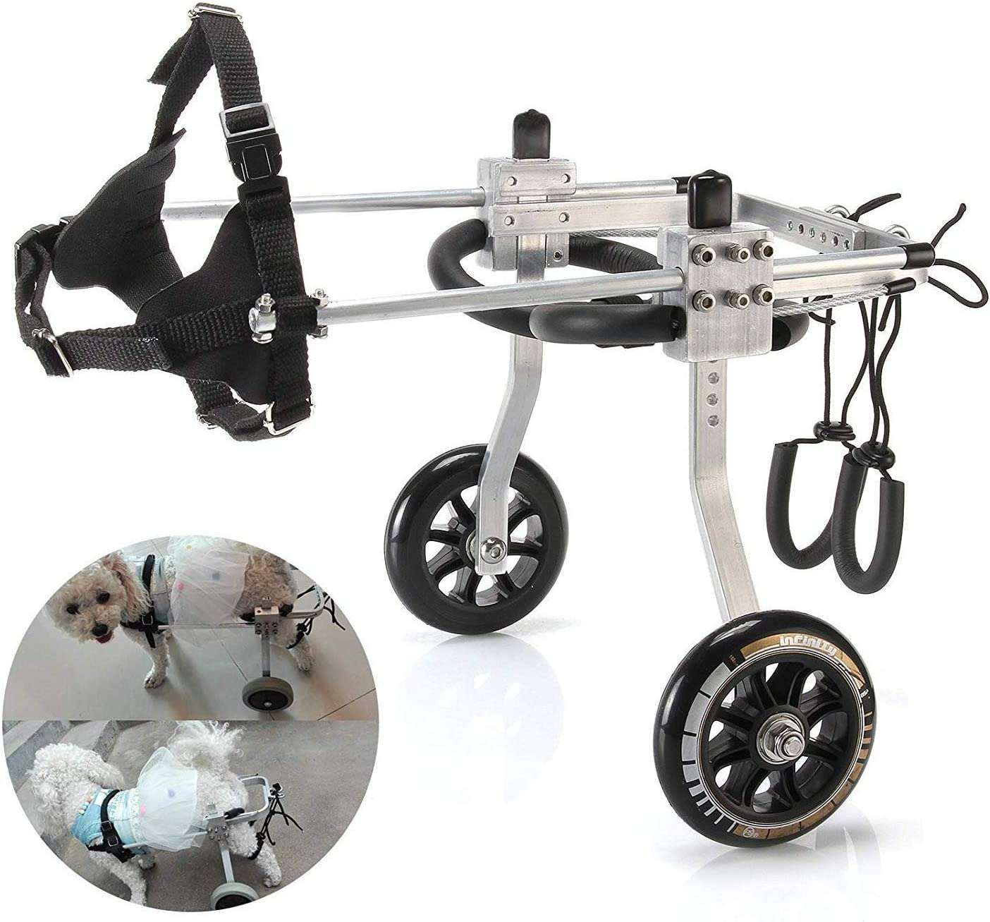 WZCC Médica Rehabilitación de mascotas Soporte de scooter asistido Silla de ruedas para perros/Scooter para perros/Miembros traseros Silla de ruedas para discapacitados/Capacitación para la reh