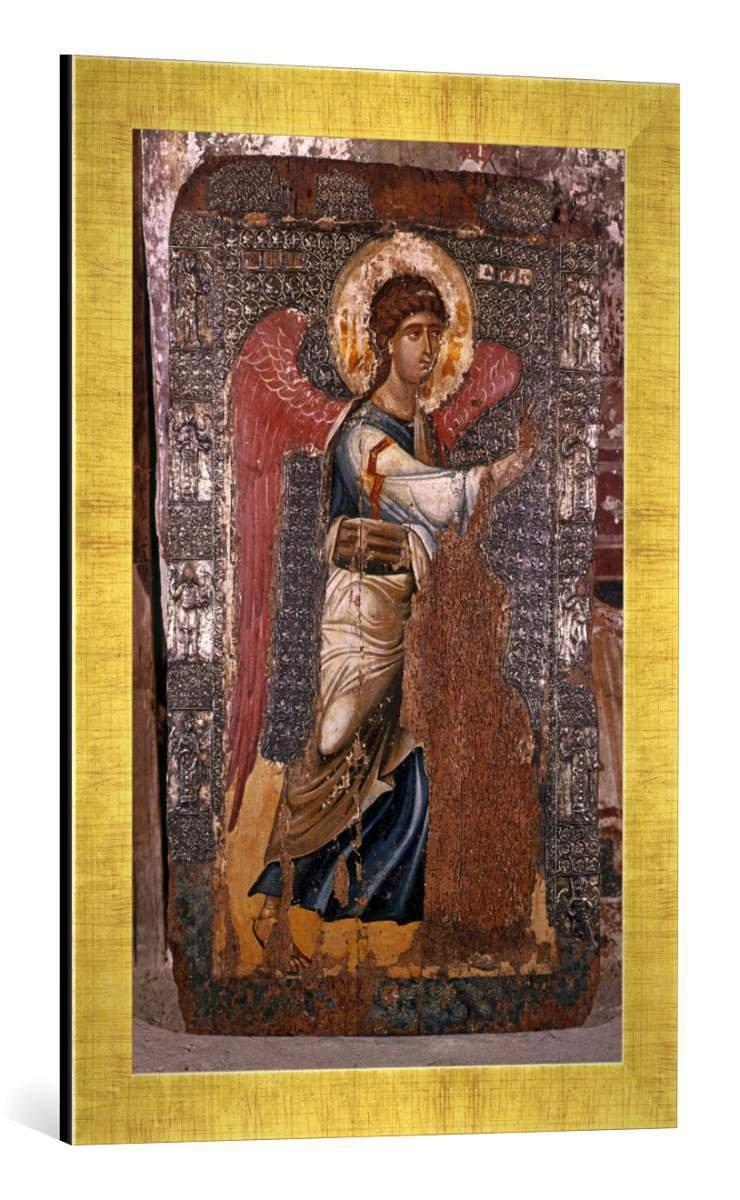 Gerahmtes Bild von 11. Jahrhundert Erzengel Gabriel/Ikone, Kunstdruck im hochwertigen handgefertigten Bilder-Rahmen, 40x60 cm, Gold Raya