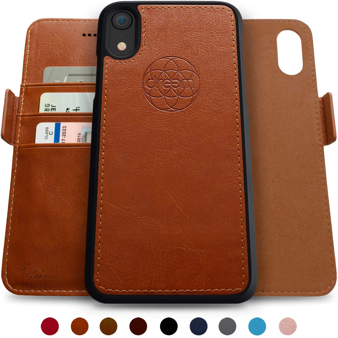 Dreem Fibonacci 2-in-1 Wallet-Case for iPhone XR Magnetic Detachable Shock-Proof TPU Slim-Case, Wireless Charge, RFID Protection, 2-Way Stand, Luxury Vegan Leather, Gift-Box - Caramel by Dreem