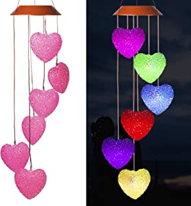 Loving Heart Solar Wind Chimes Outdoor Hanging - Waterproof Solar Powered LED Changing Lights Color Mobile Romantic Wind-Bell 6 Heart-Shaped Wind Chimes Gifts for Home, Party, Night Garden Decoration