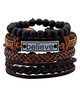 Yellow Chimes 4pcs Inspirational Message 'Believe' Unisex by Yellow Chimes Multi Strand Bracelet for Men (Brown, Black) (YCFJBR-106BELIV-BR)