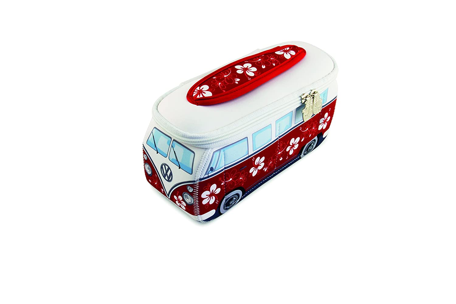 VW Collection by BRISA VW T1 Combi 3D Néoprène Petit Sac Universel - Hibiscus/Rouge