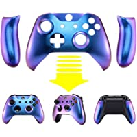 eXtremeRate® Purple and Blue Chameleon Top Shell Front Housing Faceplate Replacement Parts with Side Rails Panel for Xbox One X & Xbox One S Controller