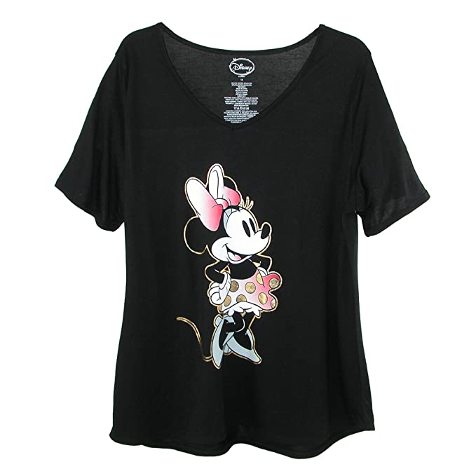 Disney Womens Plus Size Minnie Mouse V Neck T Shirt Black Amazon