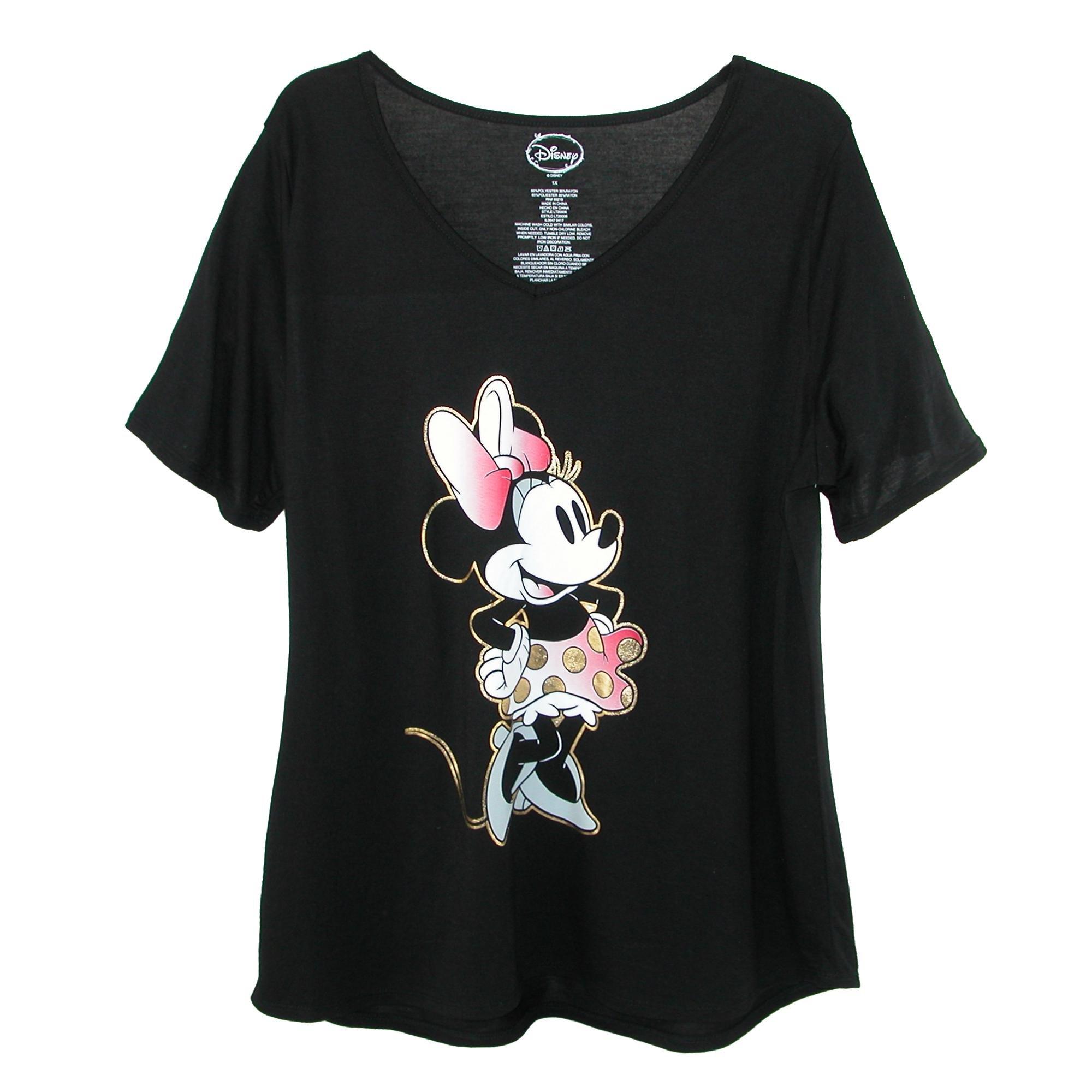 Disney Women's Plus Size Minnie Mouse V Neck T Shirt, 1X, Black