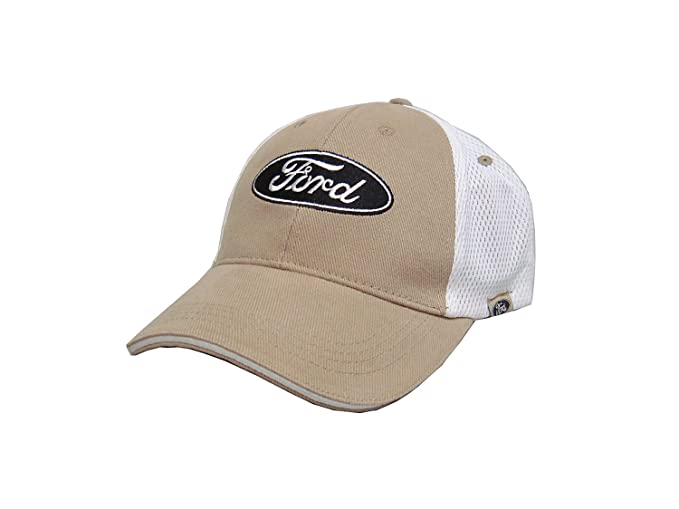 f184d6f6c8e0e Amazon.com  Hot Shirts - Men s Ford Mesh Trucker Hat  Tan-White - Mustang  F-Series GT Boss Torino Galaxie Fairlane Cobra Hot Rod  Clothing