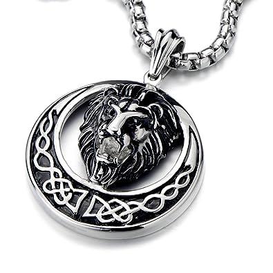 Amazon.com: Collar con colgante de león de acero inoxidable ...