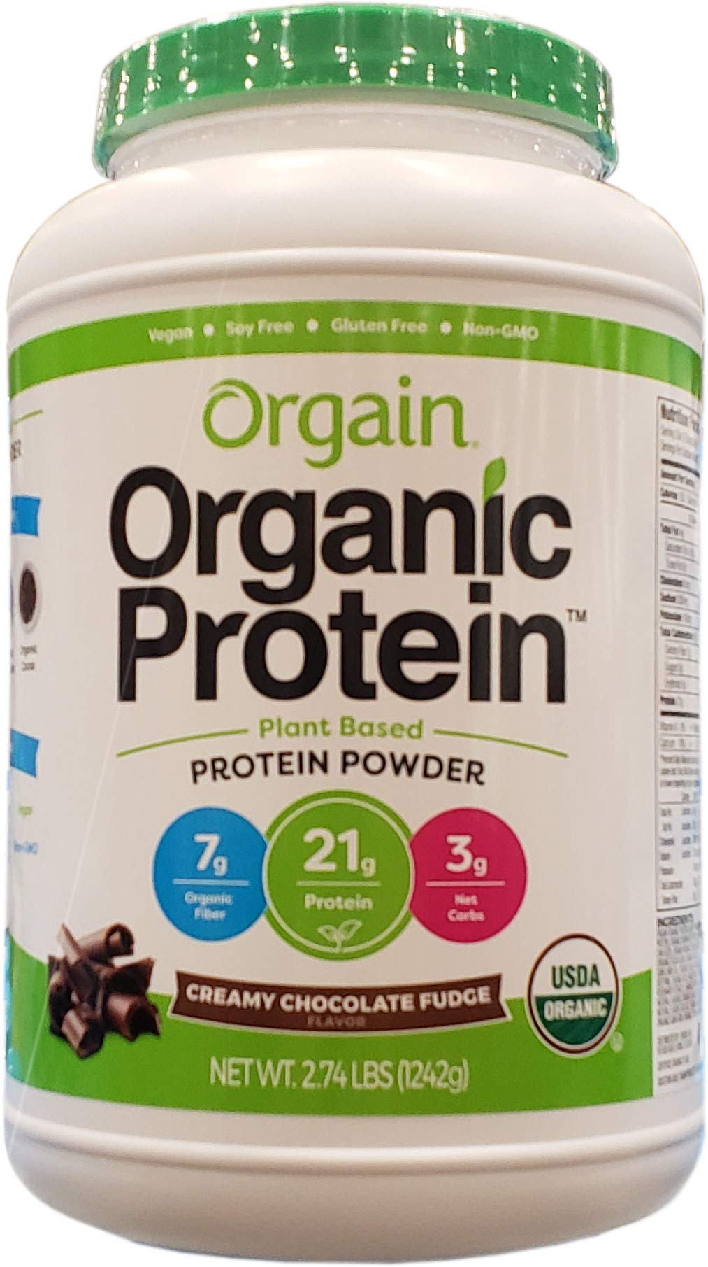 Orgain Organic Plant-Based Protein Powder, Creamy Chocolate Fudge, 2.74 Pound (0)