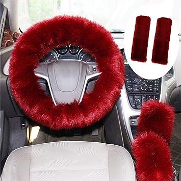 Wine red GIJITIF 4 Pack Car Seat Belt Pads Shoulder Cover with Velcro Adjustable Baby Safety Belt Protector Soft Faux Wool Plush Shoulder Strap