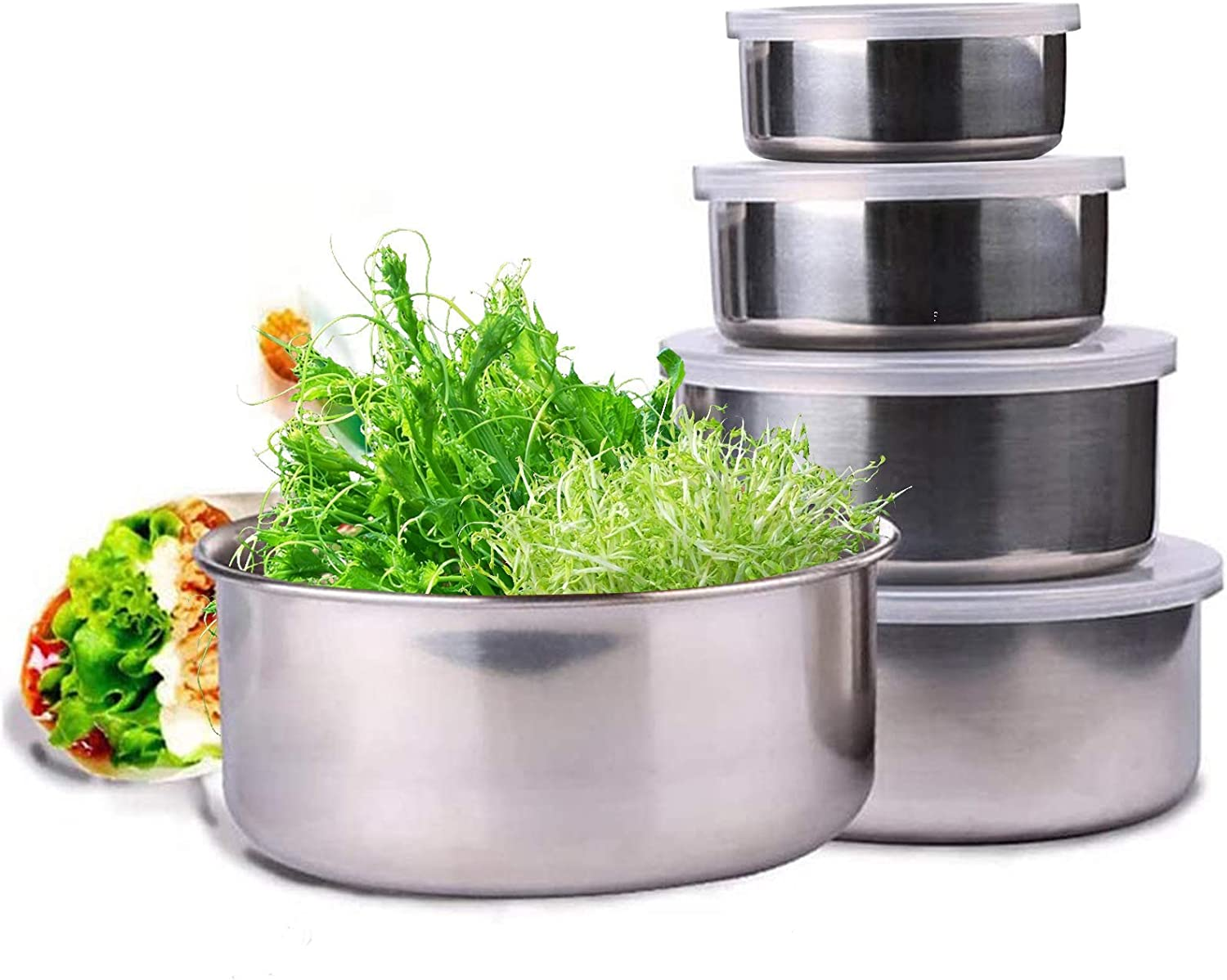 Stainless Steel Containers Bowls (Set of 5), Easy To Clean, Nesting Bowls for Space Saving Storage, Great for Cooking, MIxing,Prepping