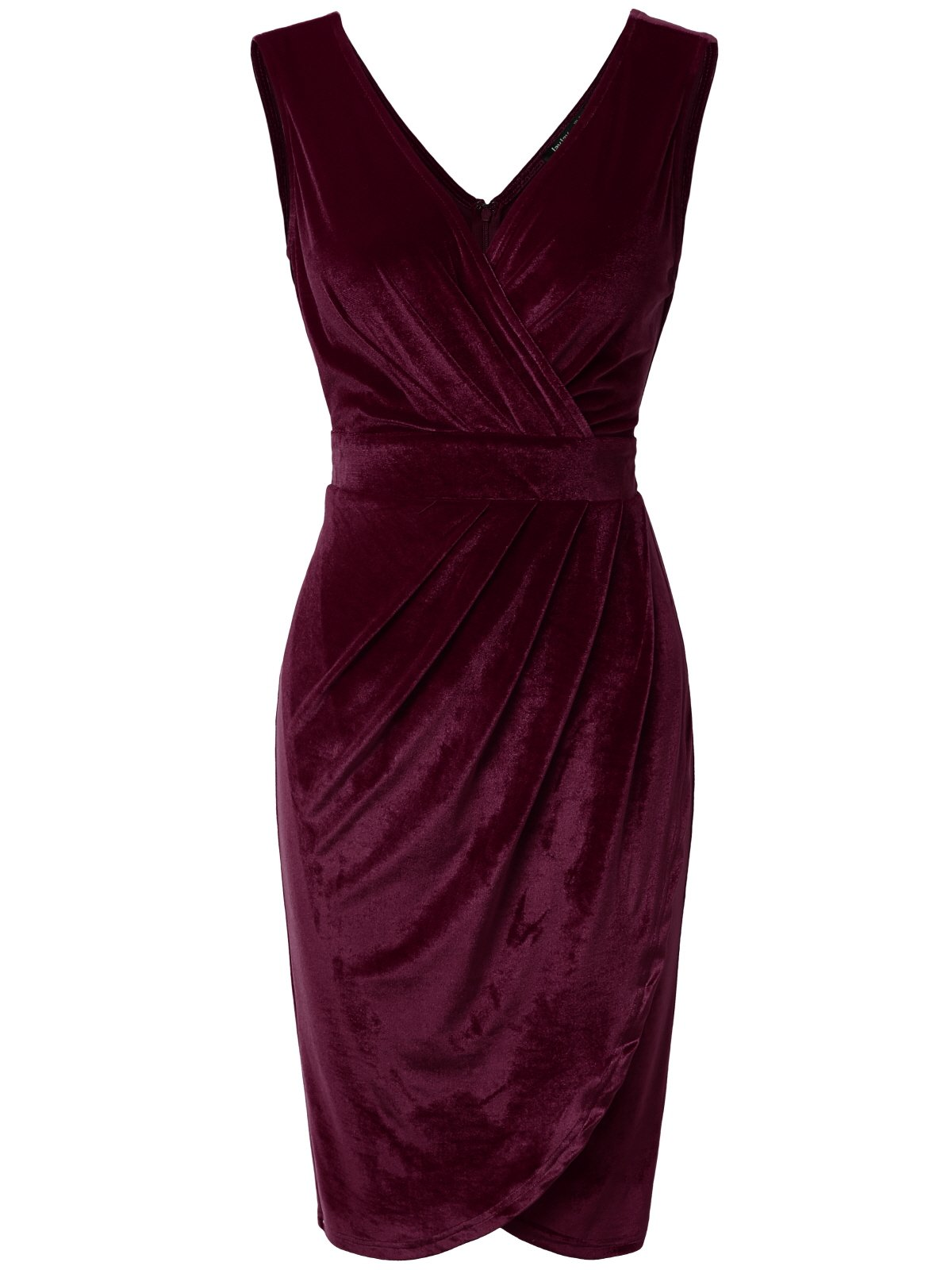 JayJay Women Faux Wrap Vintage Velvet Sleeveless Party Midi Dress,Purple,2XL