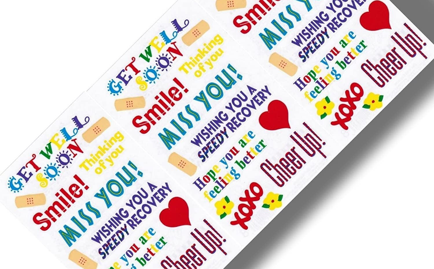 Custom inch 42 piece pack of mid size stickers for arts crafts scrapbooking w get well better soon miss you hearts w positive