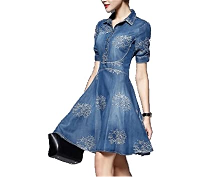 Aimeila Fashion New spring/summer women dress embroidered denim casual dress designer plus size women