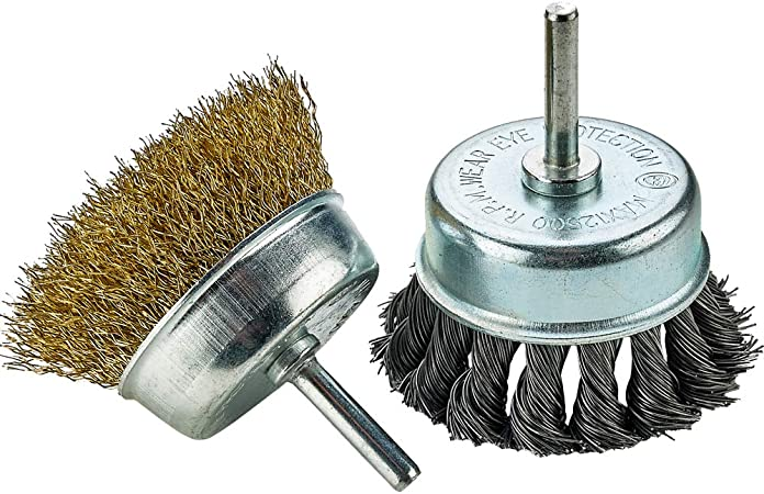 Katzco Wire Wheels Brush Corrosi 2  Knotted And Crimped Cups For Rust Removal