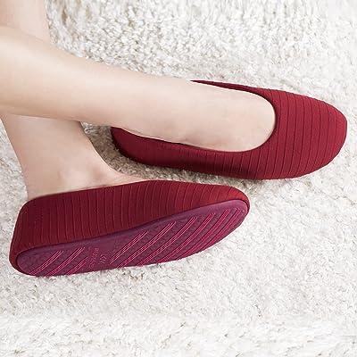 Womens Ballerina Slippers Cozy Lightweight Ballet Flats Indoor Anti-Skid Slip on