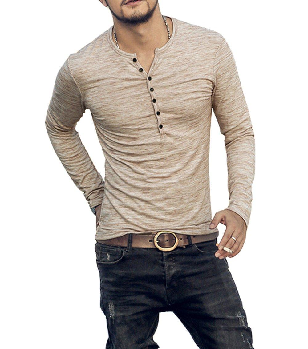 AITFINEISM Mens Casual Slim Fit Basic Henley Long Sleeve T-Shirt (X-Large, Khaki)