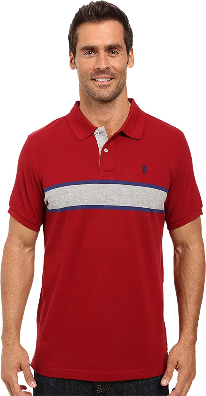 U.S Mens Engineered Chest Stripe Pique Polo Shirt Polo Assn