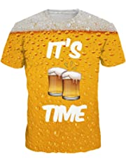 KASAAS T-Shirts for Men 3D Beer Print Short Sleeve Crewneck Casual Fashion Cool Simple Shirt Tops Pullover