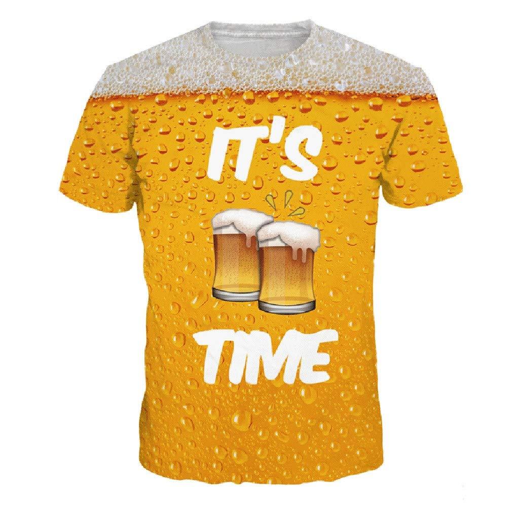 wodceeke New Mens Fashion 3D Beer Print Short Sleeve T-Shirt Summer Tops