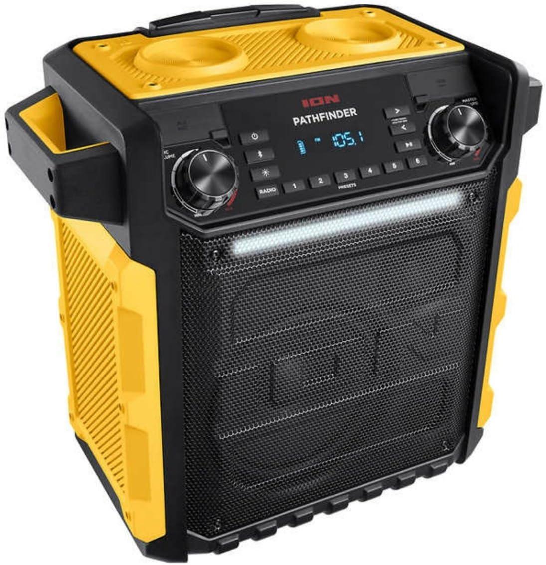 ION Pathfinder 100 Watt Rechargeable Bluetooth AM FM Waterproof Speaker w Mic