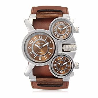1770102d451 Fashion Oulm Brand Cool Leather   Canvas Strap Men Military Army 3 Time  Zone Sport Outdoor