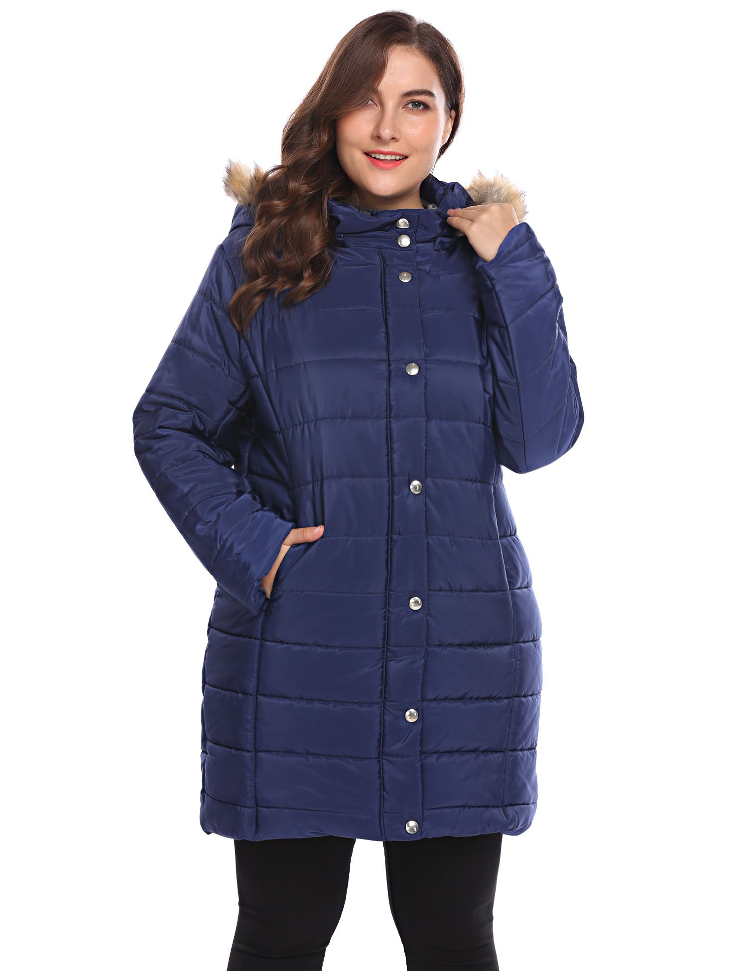 Involand Womens Plus Size Warm Winter Puffer Coat Zip Up Quilted Hooded Short Parka