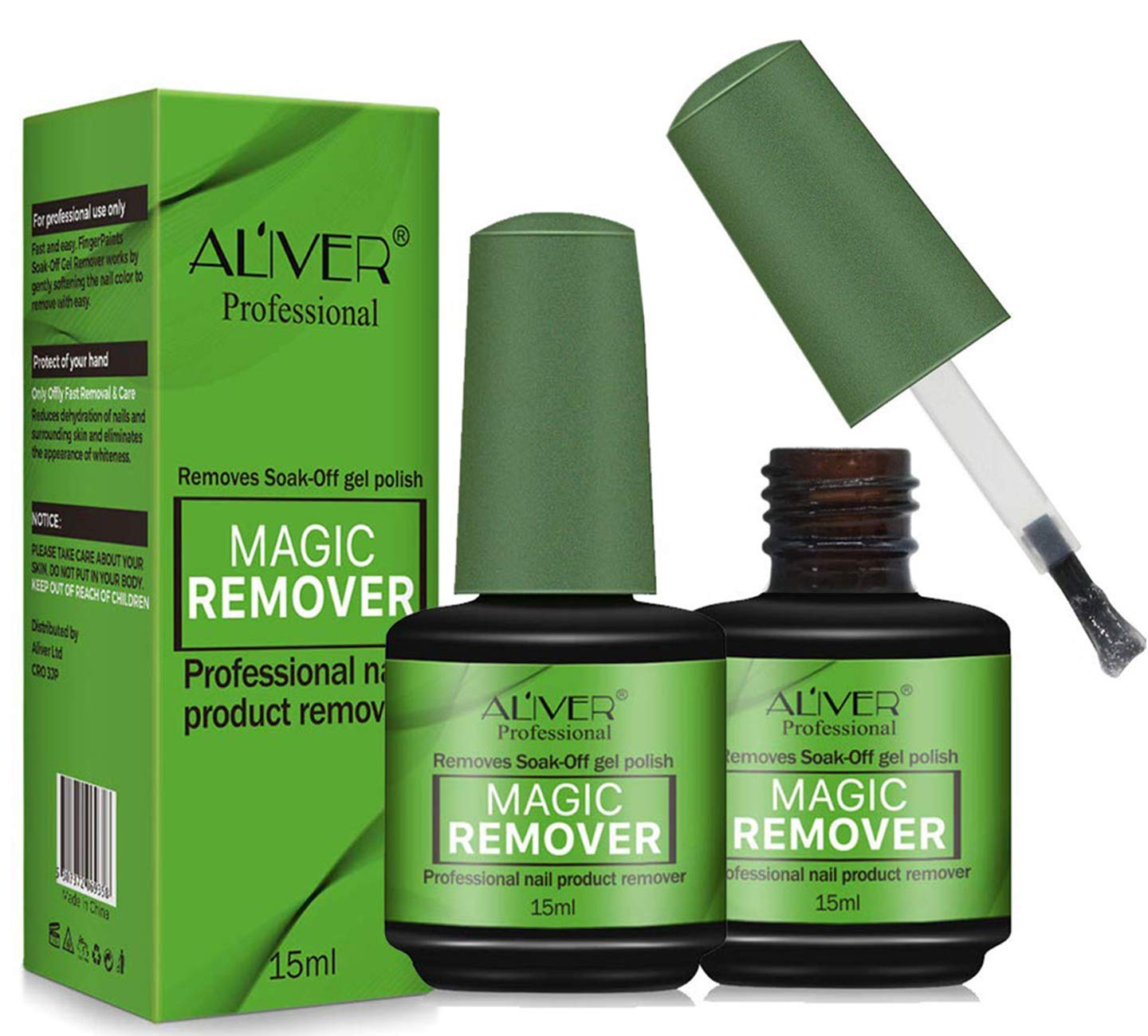 Magic Nail Polish Remover, Professional Removes Soak-Off Gel In 3-5 Minutes Quickly Easily Hurt Your Nails For Natural Gel Sculptured Nails Non-Irritating Nail Polish Remover - 2 Pack : Beauty