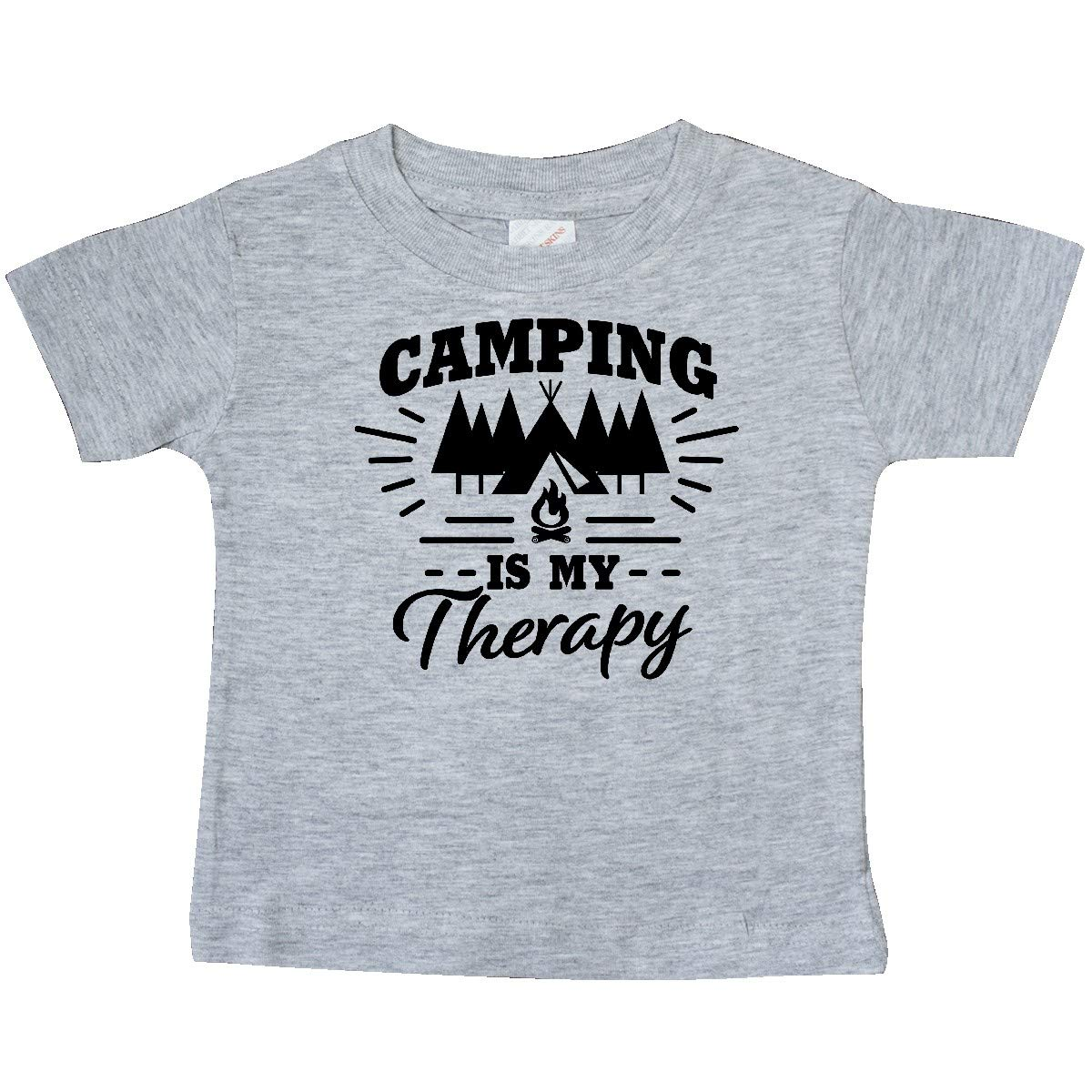 inktastic Camping is My Therapy with Tent and Campfire Baby T-Shirt