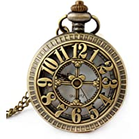 Retro Antique Bronze Skull Shaped Pocket Watch with 31 Inches Full Round Pocket Chain