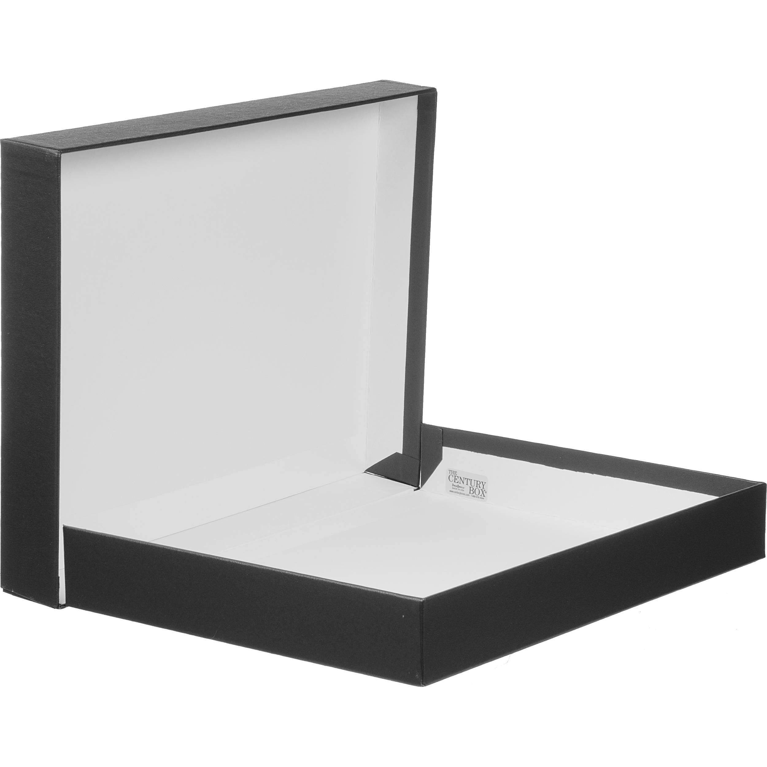 Prat Century Storage Box, One-Piece Clamshell Construction with Fabric Cover, Lined with Acid-Free White Paper, 24 X 20 X 2 inches, Black (1124)
