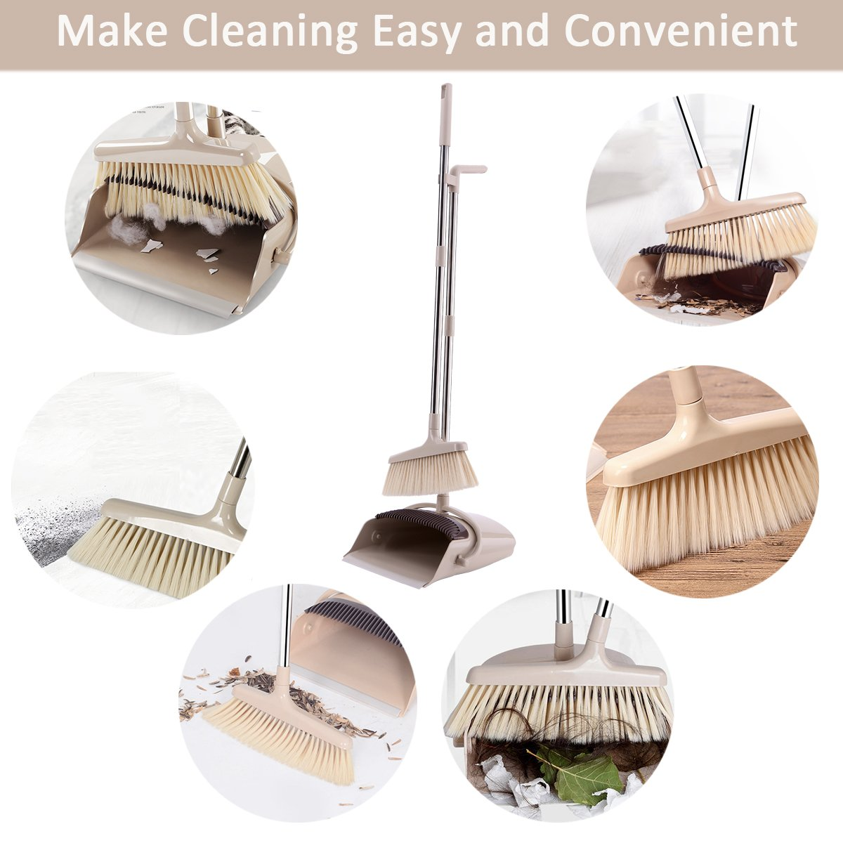 Dust Pan and Broom Set with Long Handle Combo Standing Upright Sweep Use for Pet Dog Hair Home Kitchen Office Lobby Floor