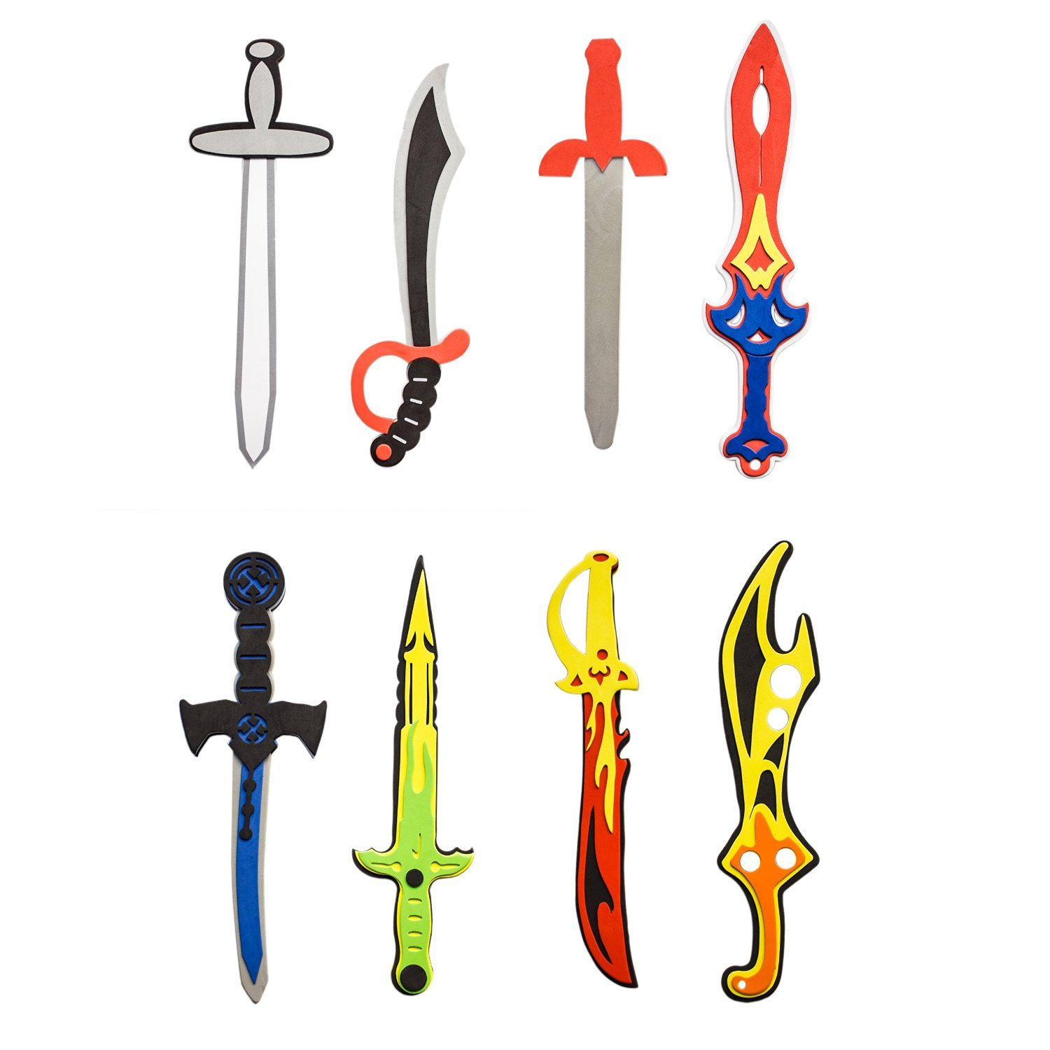 Super Z Outlet Assorted Foam Toy Swords for Children with Different Designs Including Ninja, Pirate, Warrior, and Viking (8 Pack) Super Z Outlet®