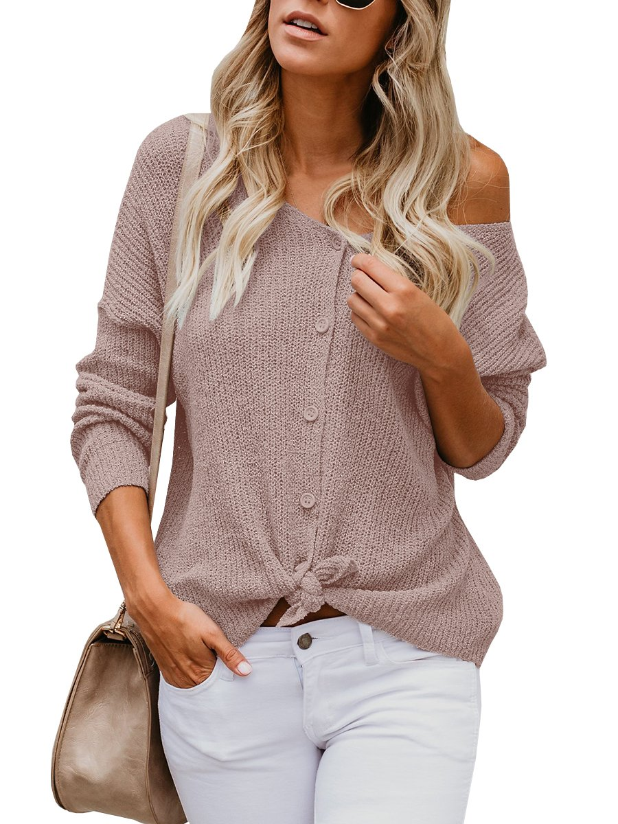 Womens Cardigans Casual Lightweight V Neck Long Sleeve Cardigan Sweaters with Buttons (Medium, R-Khaki)