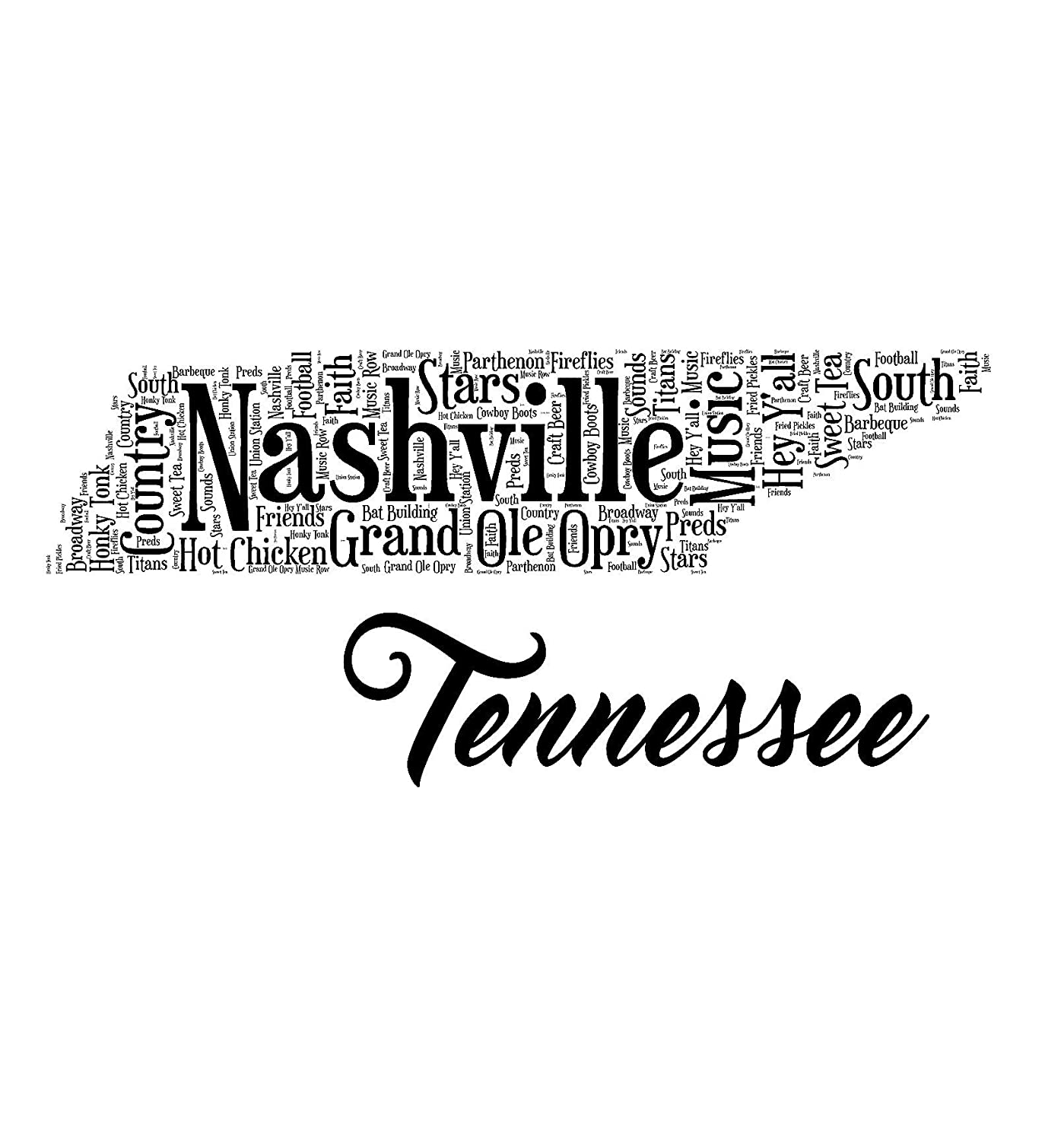 14 x 14 Nashville, Tennessee State Pillow or Pillow Slip Cover