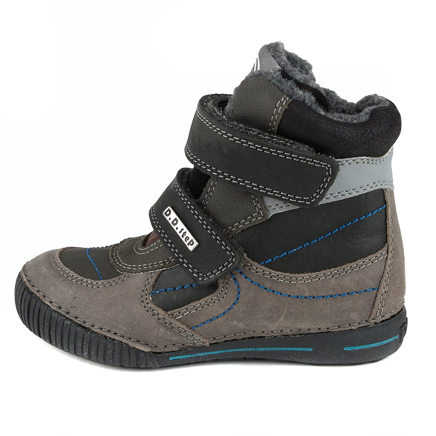 D.D. Step Boys' insulated boots, black and grey, genuine leather (036-30A):  Amazon.ca: Shoes & Handbags