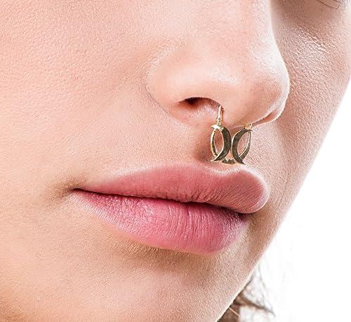 Amazon Com Gold Septum Crescent Handmade Designer Moons Piercing
