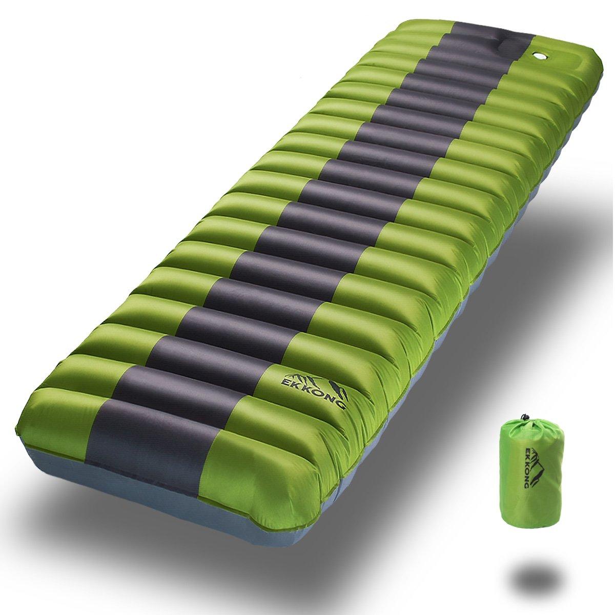 EKKONG Sleeping Pad para Acampar, mochilero, Senderismo. Diseño Inflable Rápido del Tubo de Aire con la Bomba incorporada, 190 x 60 x 12cm (Verde)