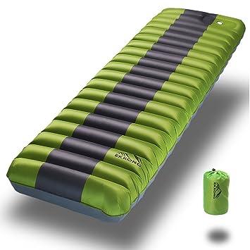 EKKONG Sleeping Pad para Acampar, mochilero, Senderismo. Diseño Inflable Rápido del Tubo de