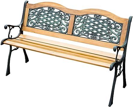 Al aire libre Patio Jardín Madera Banco De Listones de muebles hierro fundido marco parque silla: Amazon.es: Jardín