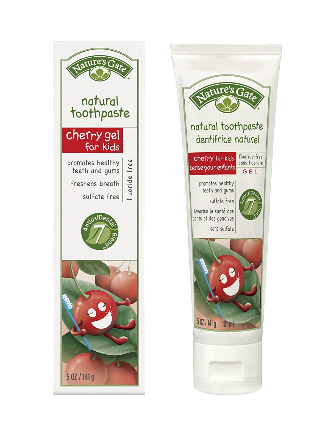 Nature's Gate Natural Toothpaste without Fluoride, Cherry Gel, 5 oz (141 g) (Pack of 4)