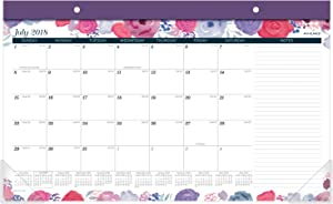 AT-A-GLANCE 2018-2019 Academic Year Desk Pad Calendar, Compact, 17-3/4 x 10-7/8, Midnight Rose (D1101-705A)