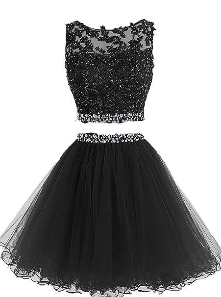 a070f7e9b4d YanLian Beaded Two Pieces Prom Dresses Applique Short Homecoming Dresses  Black US2