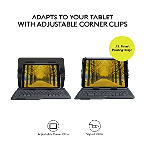 Logitech Universal Folio with Integrated Bluetooth 3.0 Keyboard for 9-10 Apple, Android, Windows Tablets - Compatible with Models Listed (Color: Black)